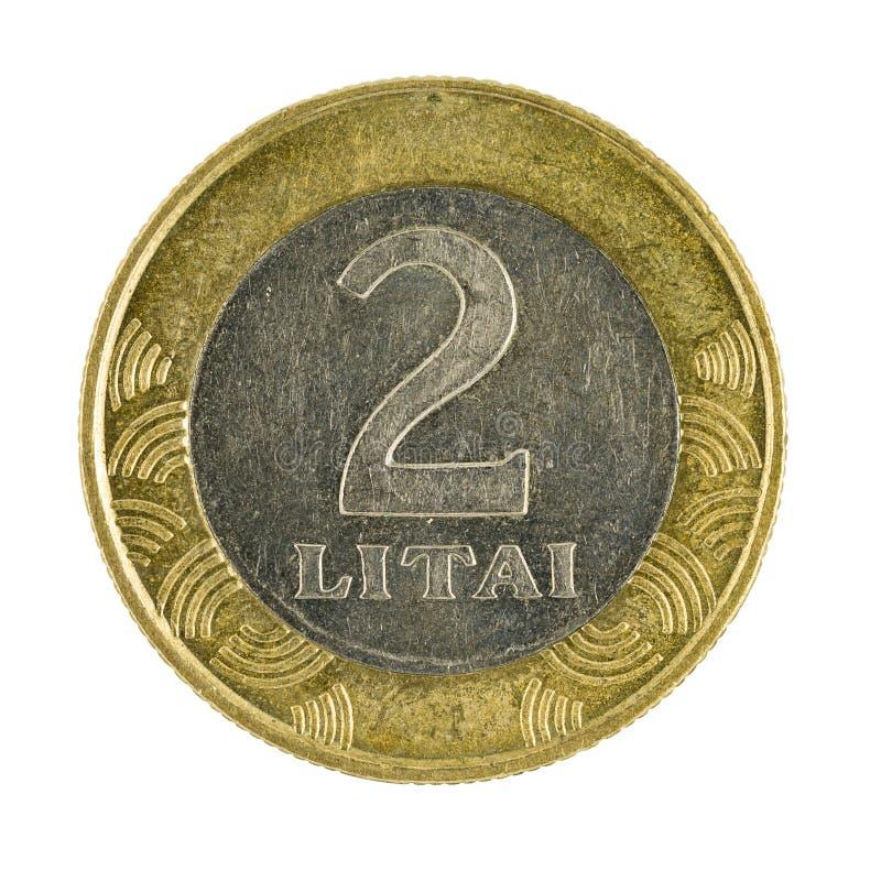 Zwei Litauer litai Münze 2002 lokalisiert auf weißem Hintergrund lizenzfreies stockfoto