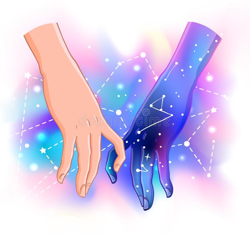 Zwei lokalisierte Vektorillustration der Frauen Händchenhalten Valentine vektor abbildung