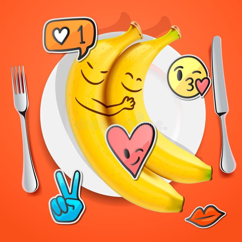 Zwei lustige Bananen mit emoji Gesichtern in Liebe Emoticon, Konzept für Valentinsgrußtag vektor abbildung