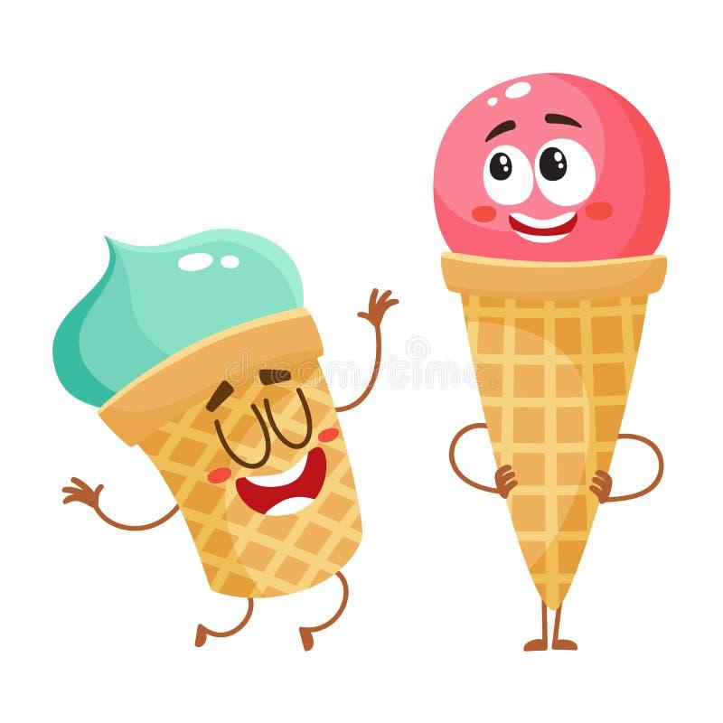 Zwei lustige Eiscremecharaktere - Erdbeerkegel und Pistazienschale stock abbildung