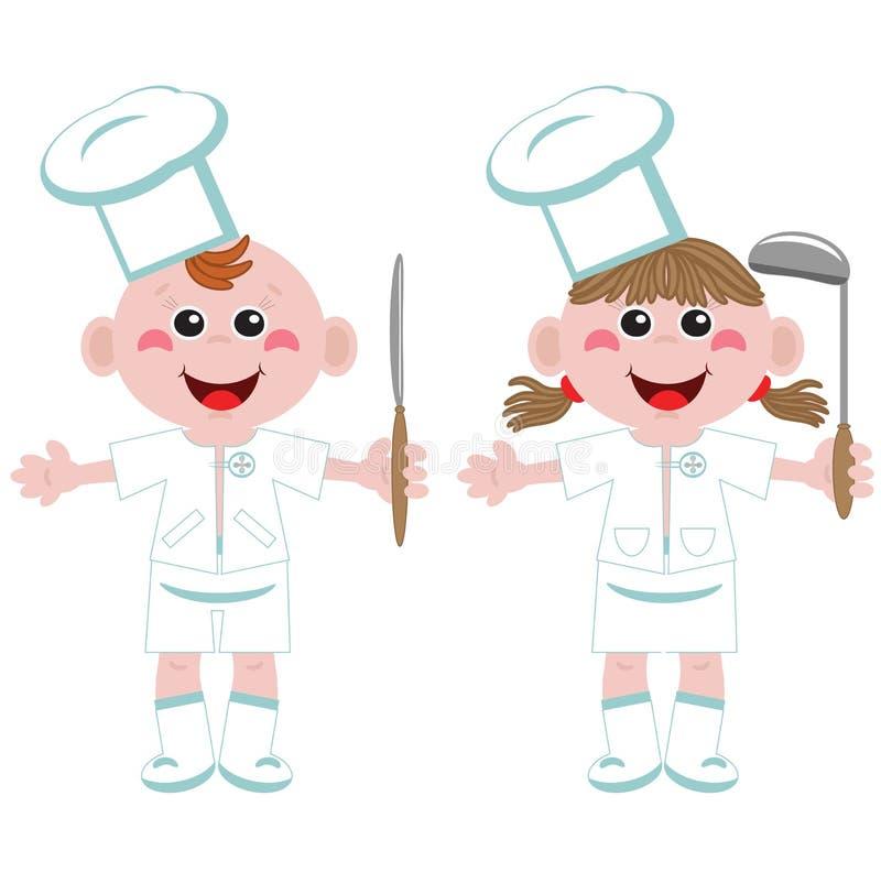 Zwei lustige Köche lizenzfreie abbildung