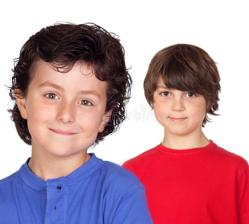 Zwei lustige Kinder stockbild