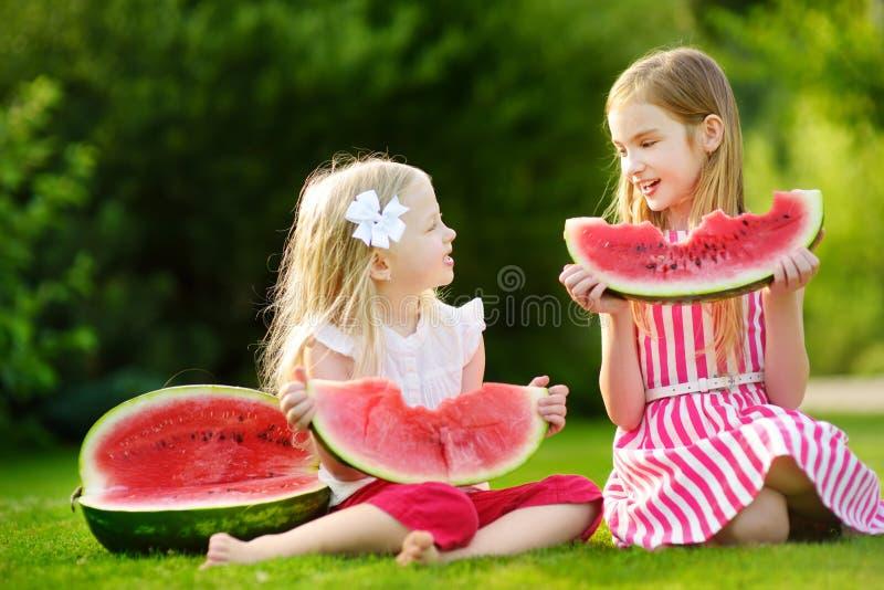 Zwei lustige kleine Schwestern, die draußen Wassermelone am warmen und sonnigen Sommertag essen lizenzfreie stockfotos