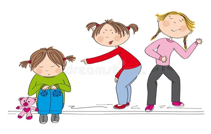 Zwei Mädchen, die das arme Mädchen, spottend einschüchtern und beleidigen sie lizenzfreie abbildung