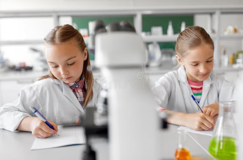 Zwei Mädchen, die in der Schule Labor der Chemie studieren lizenzfreie stockfotos