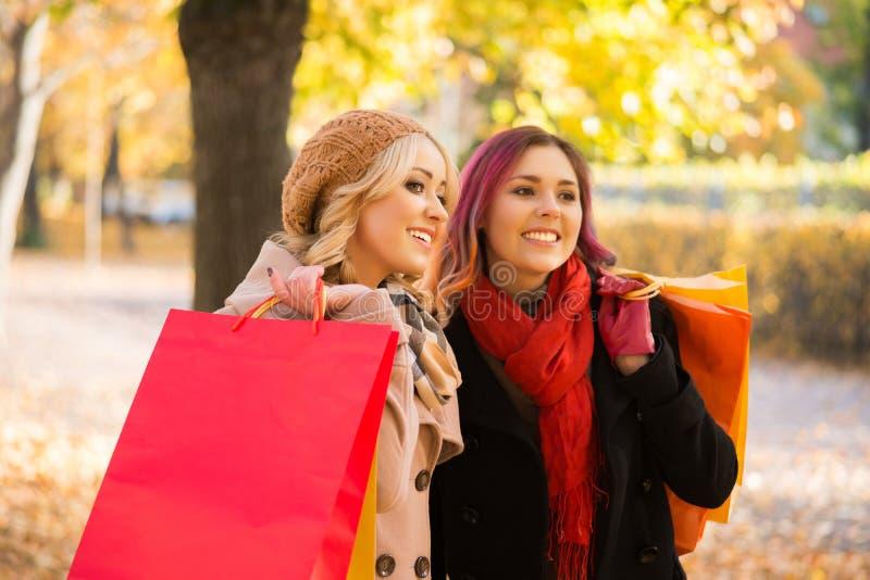 Zwei Mädchen, die ein angenehmes Gespräch beim gehen der Herbstpark haben stockfotografie
