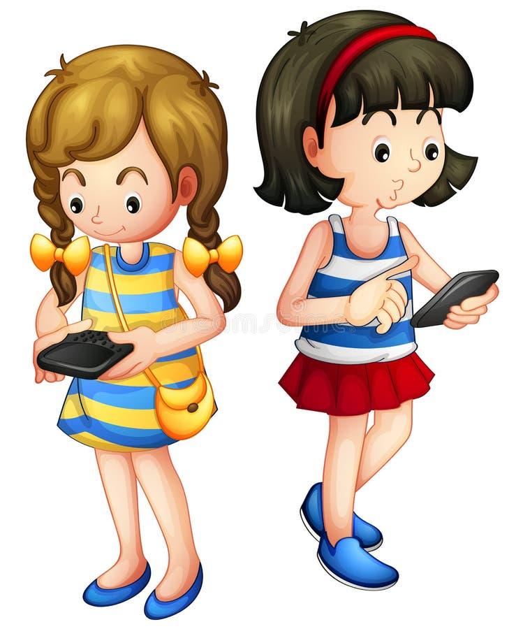 Zwei Mädchen, die ein Gerät halten lizenzfreie abbildung