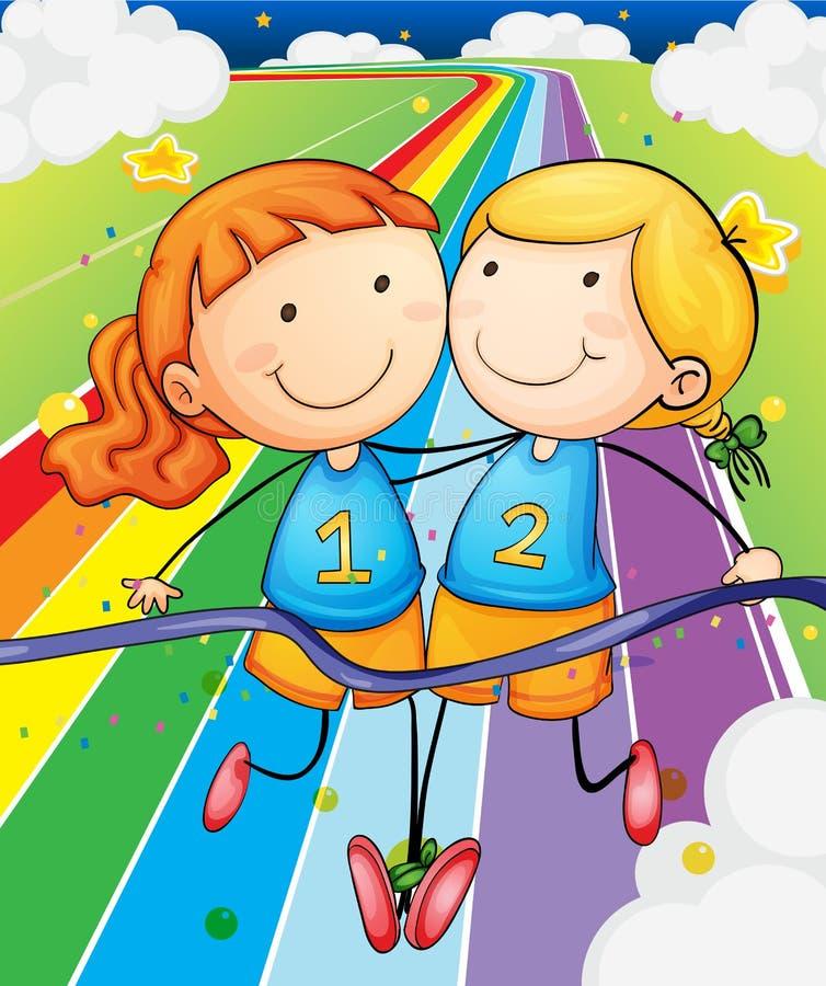 Zwei Mädchen, die am Feld laufen stock abbildung