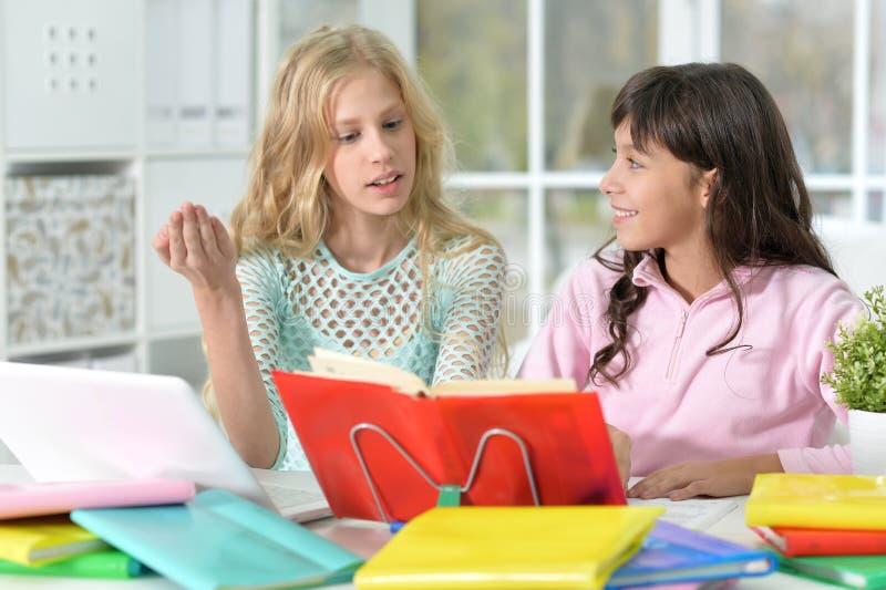 Zwei Mädchen, die Heimarbeit tun stockbilder