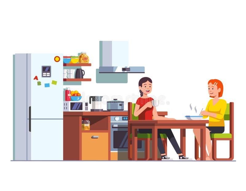 Zwei Mädchen, die zusammen Küche des Mittagessens zu Hause essen lizenzfreie abbildung