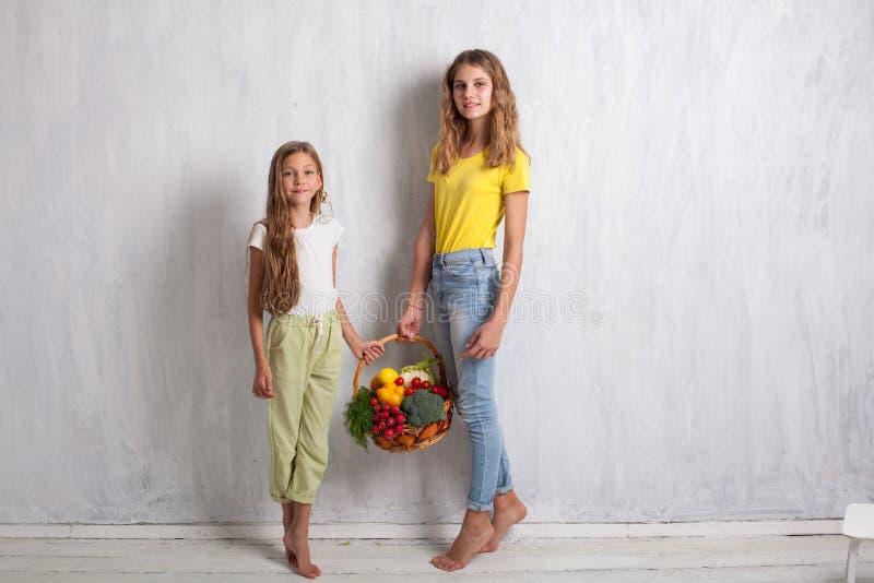 Zwei Mädchen mit einem Korb der gesunder Ernährung der frischen Frucht stockbild