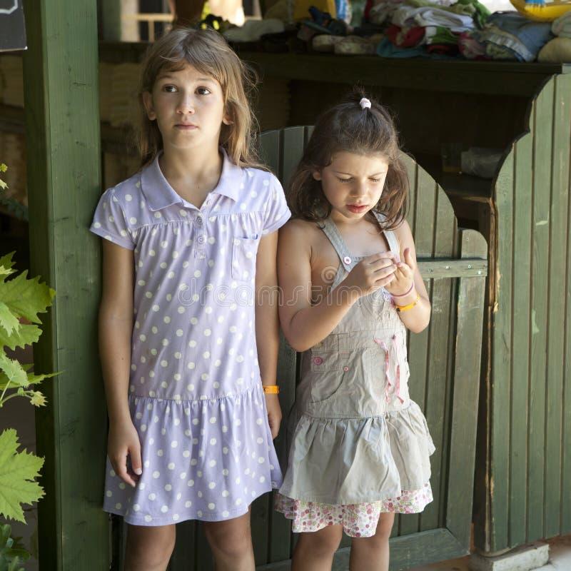 Zwei Mädchen nähern sich Zaun stockbild