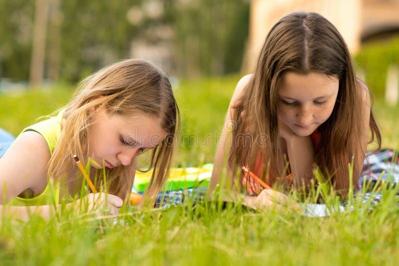 Zwei Mädchen sind Studenten Junger Teenager Tun Sie die Lektionen schreiben in ein Notizbuch im Sommer auf Gras kampieren Ergänzt lizenzfreies stockfoto