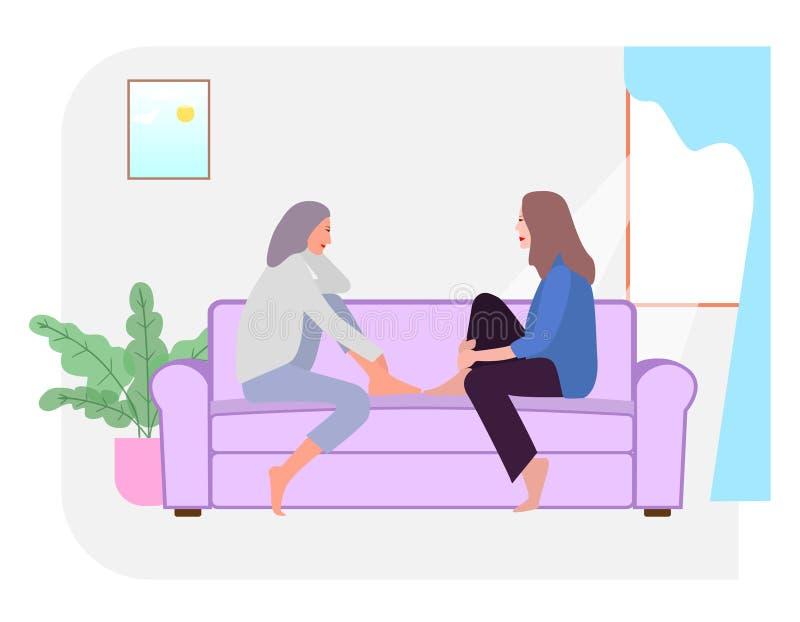 Zwei Mädchen sitzen auf der Couch und sprechen miteinander Einfache flache Illustration lizenzfreie abbildung