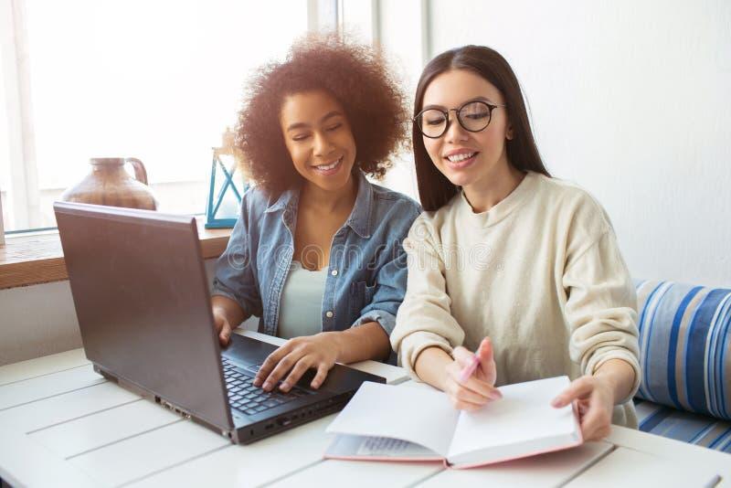Zwei Mädchen sitzen am Tisch Eins von ihnen zeigt dem anderen Mädchen Anmerkungen in ihrem Notizbuch, das Laptop an hat stockfotografie