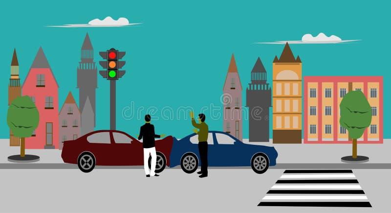 Zwei Männer argumentieren Verursachen Sie das Auto schlagen den hinteren errichtenden Hintergrund stock abbildung