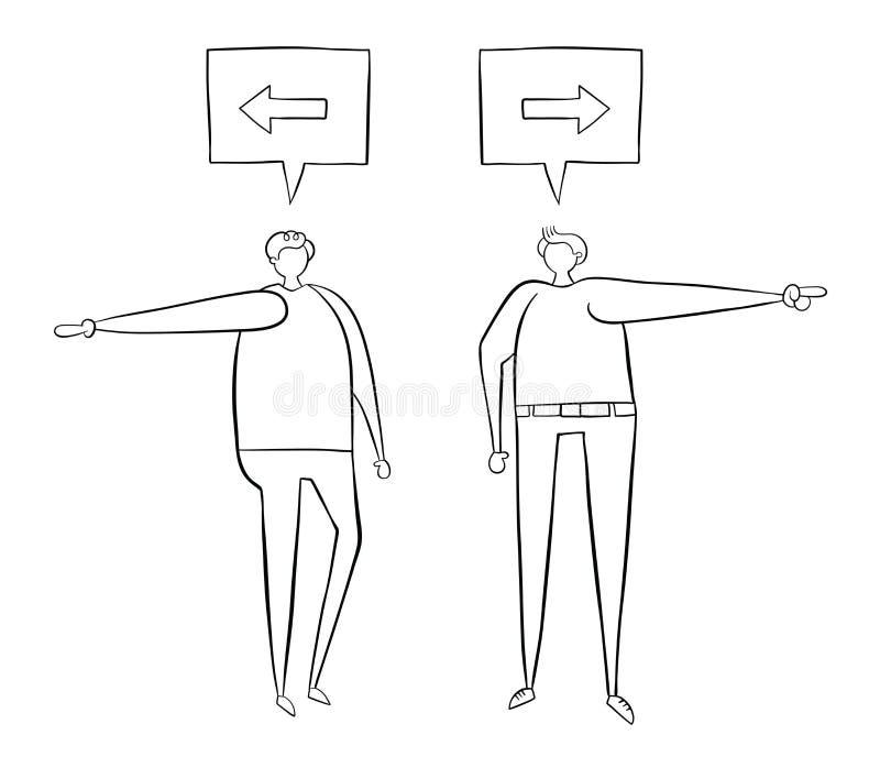 Zwei Männer, die über Richtung argumentieren Man sagt links, sagt der andere nach rechts stock abbildung