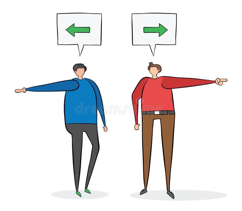 Zwei Männer, die über Richtung argumentieren Man sagt links, sagt der andere nach rechts vektor abbildung