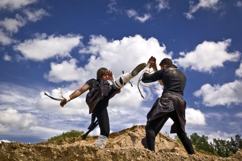 Zwei Männer kämpfen lizenzfreie stockfotografie