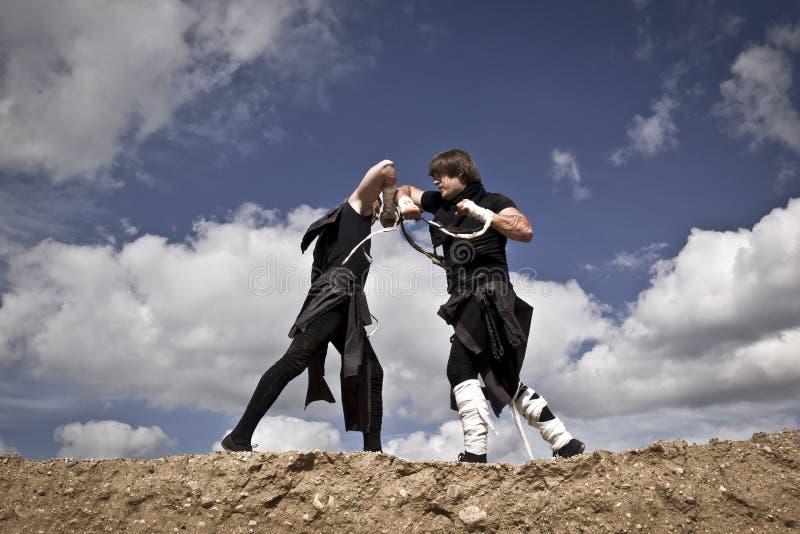 Zwei Männer kämpfen stockfotografie