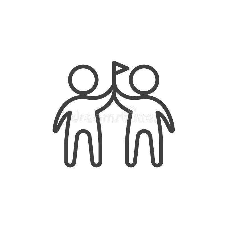 Zwei Männer mit Flaggenlinie Ikone vektor abbildung