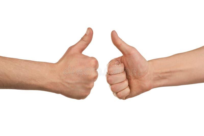 Zwei männliche Hände, die sich Daumen zeigen stockbild