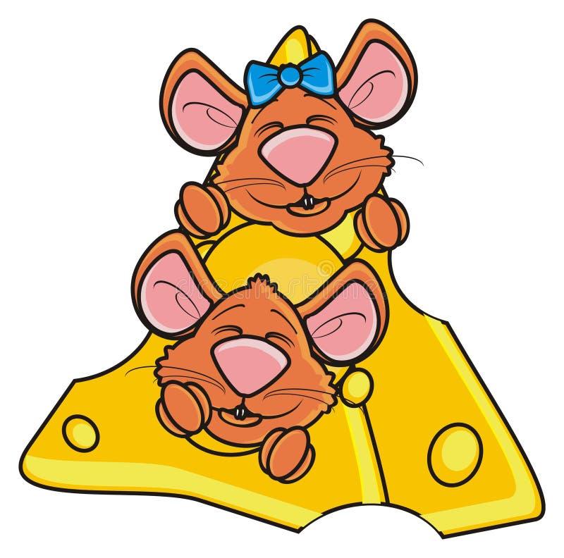Zwei Mäuse schnüffeln das Spähen aus einem Stück Käse heraus vektor abbildung