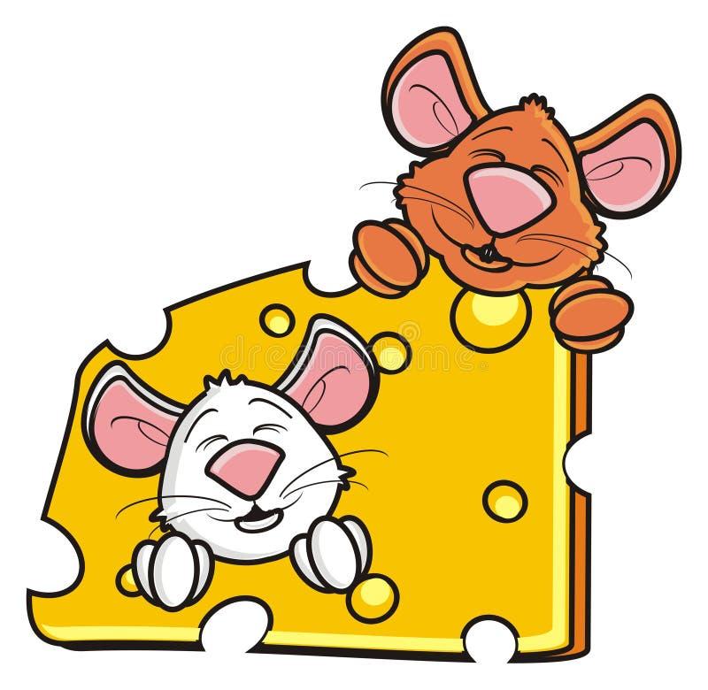 Zwei Mäuse schnüffeln das Spähen aus einem Stück Käse heraus lizenzfreie abbildung