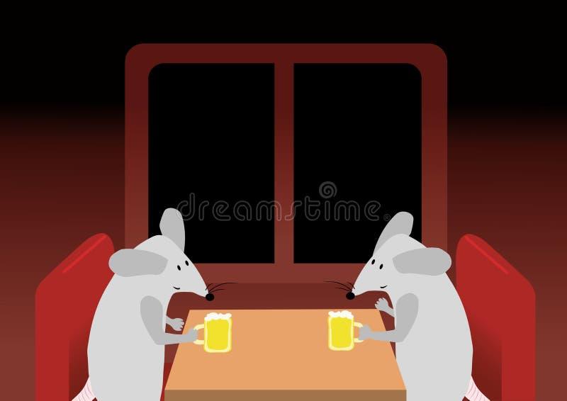 Zwei Mäuse trinken das Bier vektor abbildung