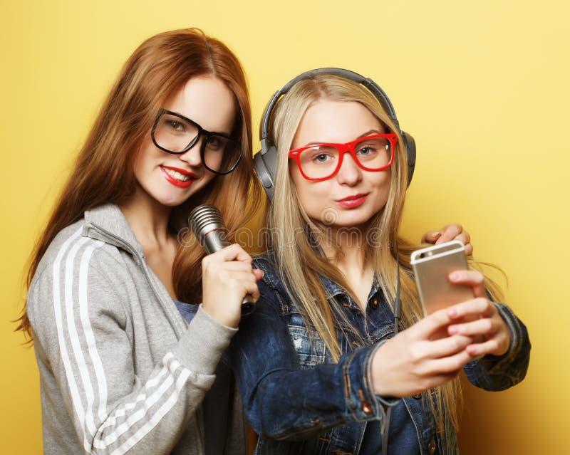 Zwei M?dchen mit einem Mikrofon Spa? zusammen singend und habend, machen selfie lizenzfreie stockfotografie