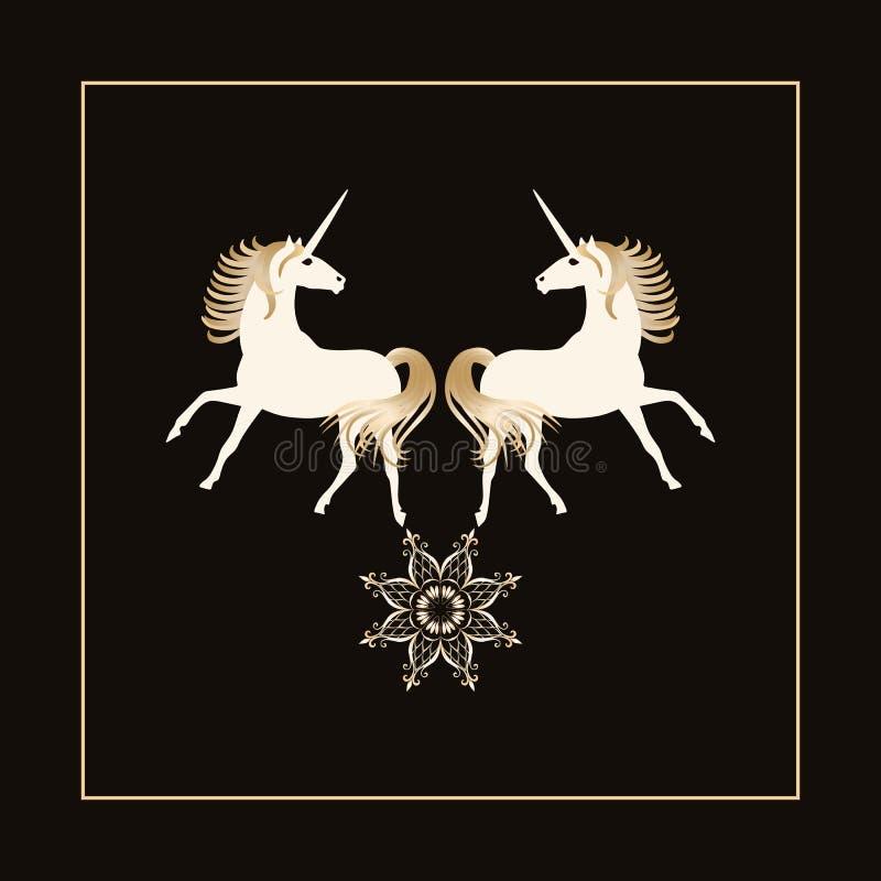 Zwei magische Einhörner mit den goldenen Mähnen und Stern - Mandala lokalisiert auf schwarzem Hintergrund im Vektor Schönes Logo stock abbildung