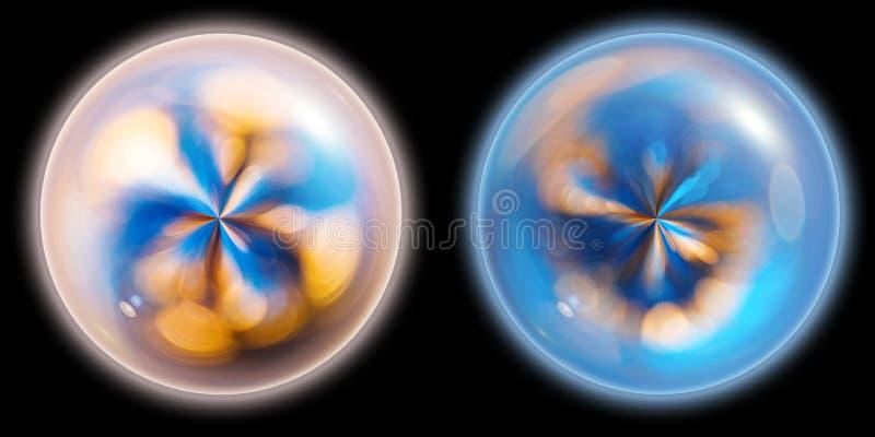 Zwei magische glühende Kugeln auf schwarzem Hintergrund stockbild