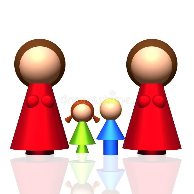Zwei-Mama 3D Familien-Ikone stock abbildung
