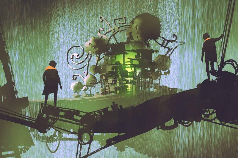 Zwei-mannstände auf der Brücke, die Fantasiedorf mit Wasserfall betrachtet vektor abbildung