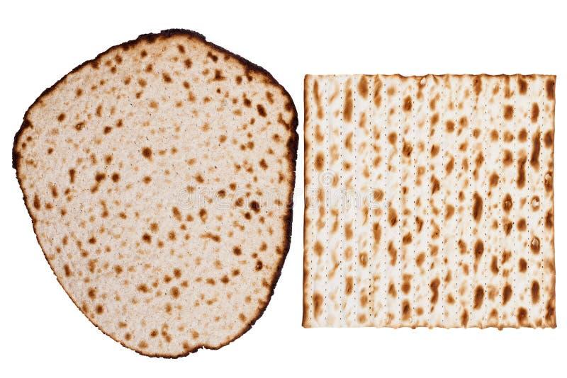 Zwei Matzah-Arten stockfoto