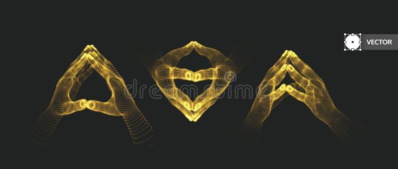 Zwei menschliche Hände Verbindungsstruktur Die goldene Taste oder Erreichen für den Himmel zum Eigenheimbesitze Abbildung des Vek stock abbildung