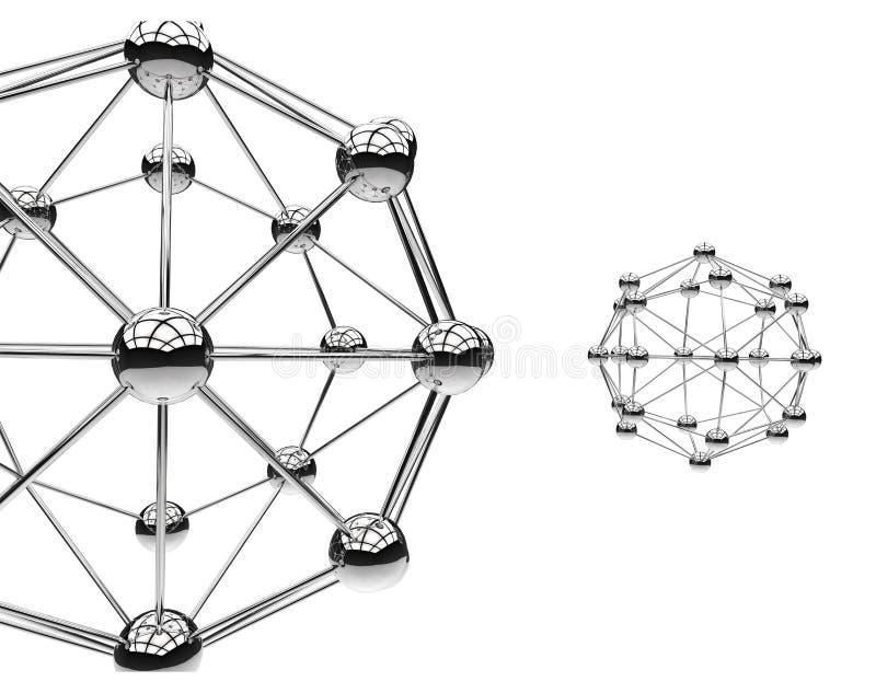 Zwei metallische Atome lokalisiert auf Weiß Struktur von Molekülen schließen oben stock abbildung