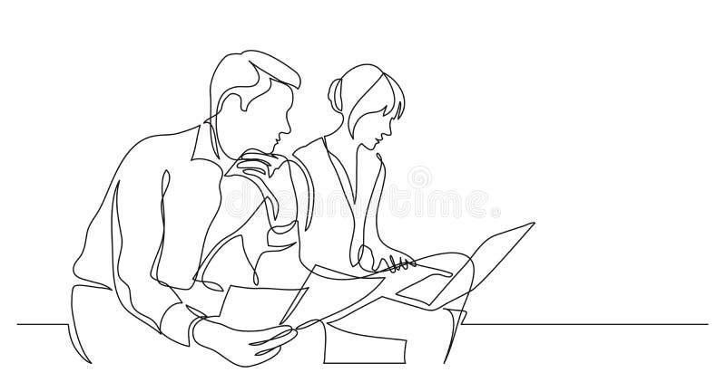 Zwei Mitarbeiter, die an Dokumenten mit Computer- Federzeichnung der einzelnen Zeile des Laptops arbeiten vektor abbildung