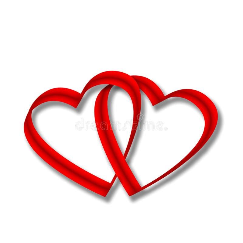 Zwei miteinander verflochtene rote Herzen Satinende stockbild