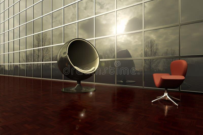 Zwei moderne Stühle, die in der Außenplattform eines Bürogebäudes sich gegenüberstellen stock abbildung