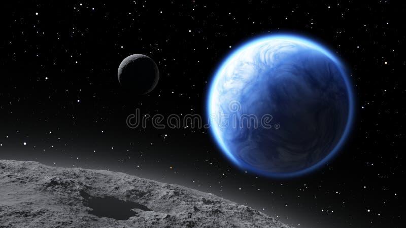 Zwei Monde, die einen Erde ähnlichen Planeten in Umlauf bringen vektor abbildung