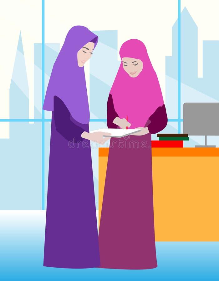 Zwei moslemische Frauen arbeiten im Büro Glückliche junge Frauen oder Mädchen Gruppe Freundinnen, Verband von Feministn, Schweste vektor abbildung