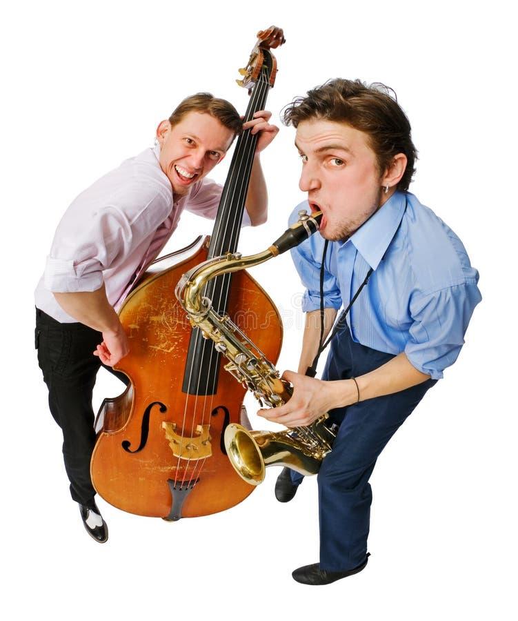 Zwei Musiker mit Cello und Saxophon lizenzfreie stockfotos