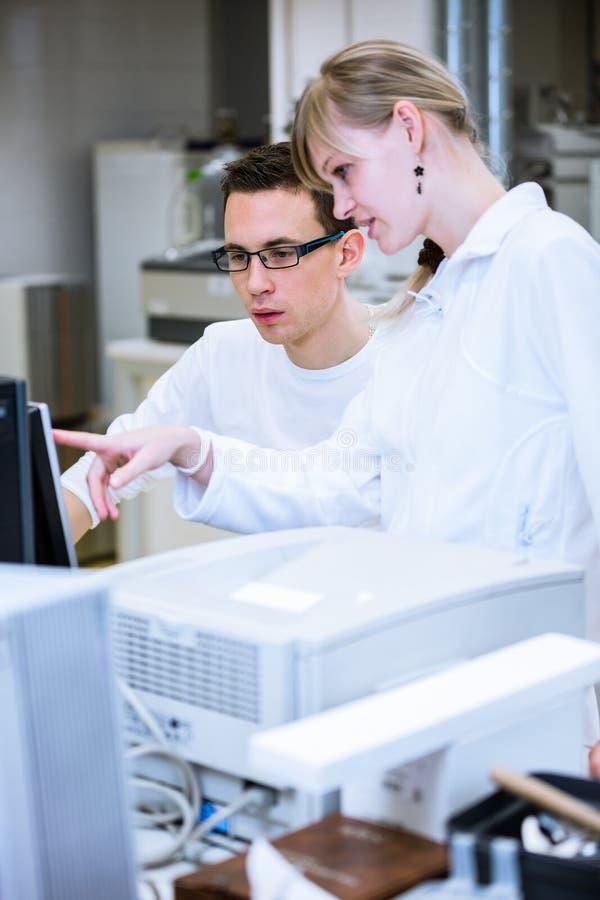 Zwei Nachwuchsforscher, die Experimente in einem Labor durchführen stockfotografie