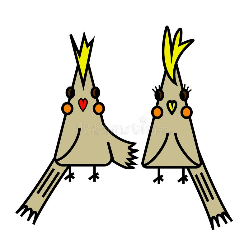 Zwei nette Karikatur-Vögel lizenzfreie abbildung