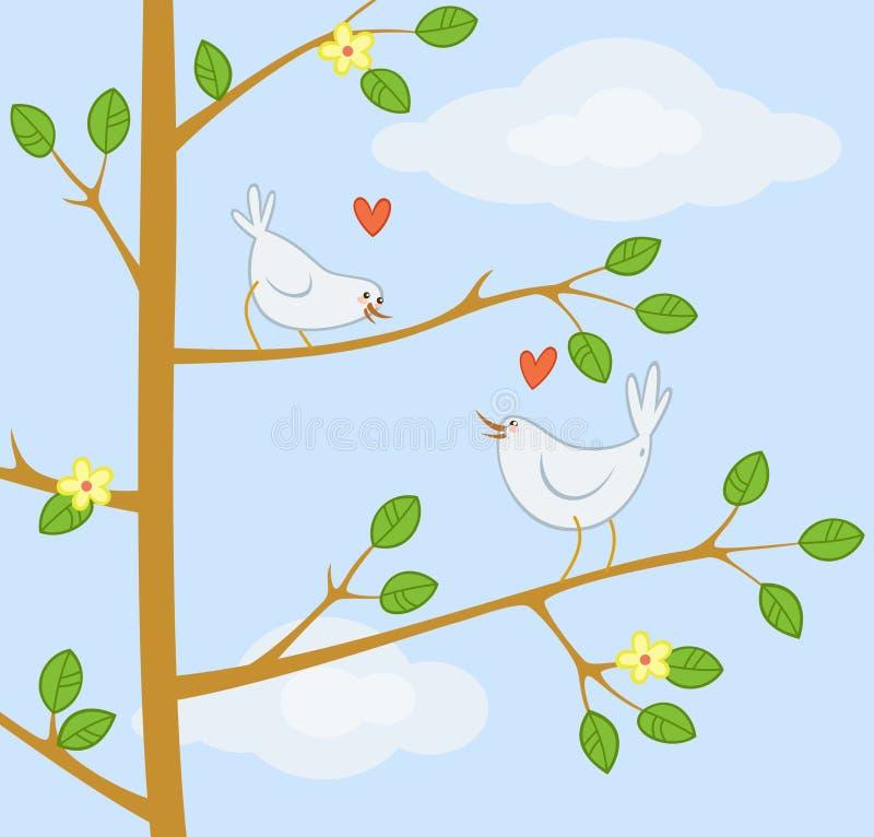 Zwei nette Karikaturvögel auf dem Baum vektor abbildung