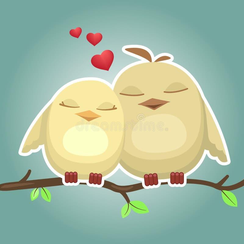 Zwei nette Karikaturvögel auf Niederlassung stock abbildung