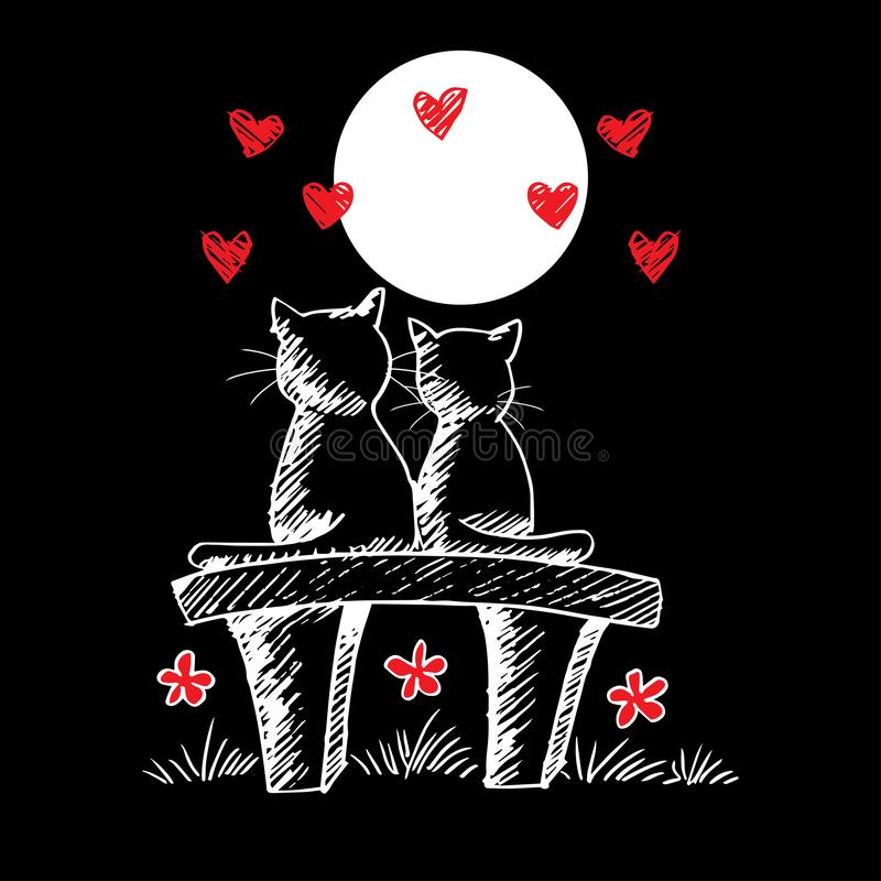 Zwei nette Katzen in der Liebe stock abbildung
