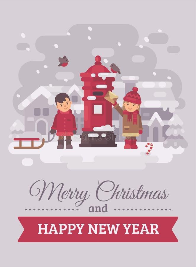 Zwei nette Kinder, die einen Brief zur flachen Illustration der Santa Claus Christmas-Grußkarte schicken Frohe Weihnachten und gu vektor abbildung