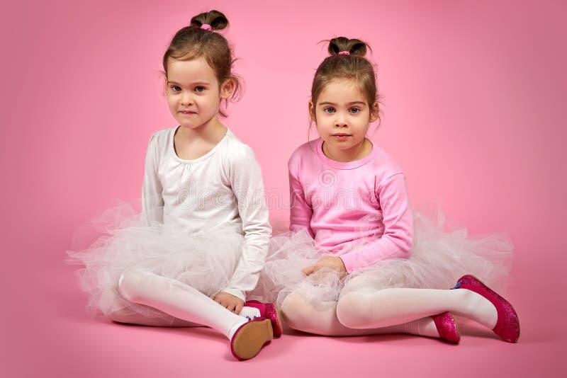 Zwei nette kleine Mädchen in Tulle-Röcken auf einem rosa Hintergrund lizenzfreie stockfotografie